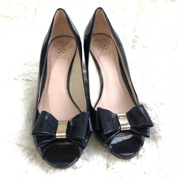 74fe5e367cb5c Vince Camuto Shoes | Varro Metallic Blue Open Toe Bow | Poshmark